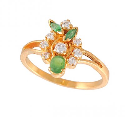 Gold Ring with Emerald and CZ ( Ladies Rings with Precious Stones )