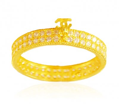 CZ 22Kt Gold Band ( Ladies Signity Rings )