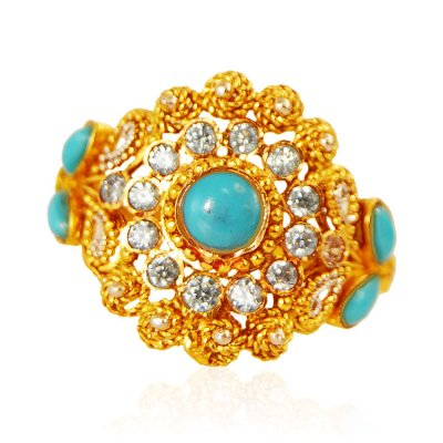 22KT Gold  Turquoise and CZ Ring ( Ladies Rings with Precious Stones )