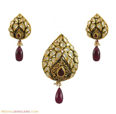 22K Kundan Pendant Set (heavy) ( Antique Pendant Sets )