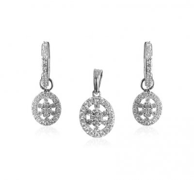 18KT Gold Diamond Pendant Set  ( Diamond Pendant Sets )