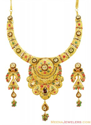 22k Meenakari Bridal Necklace Set ( Antique Necklace Sets )