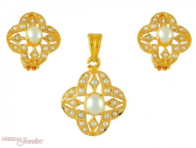 22K Pendant Set with Pearl ( Precious Stone Pendant Sets )