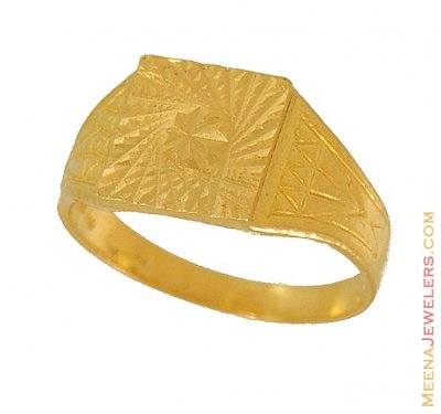 22K gold ring (Spiral bust) ( Mens Gold Ring )