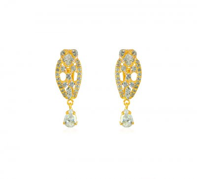 Gold Clip On Earrings With CZ ( Clip On Earrings )