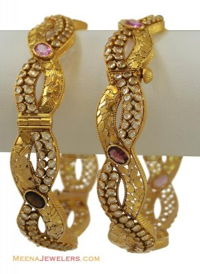 (CUSTOM) 22K Designer Polki Bangles (2 pcs) ( Antique Bangles )