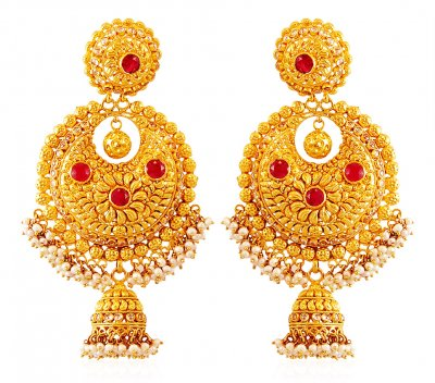 22Kt Gold Chand bali with Jhumki ( Exquisite Earrings )