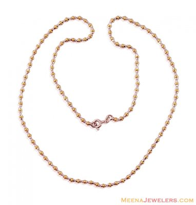 18 K Gold Balls Two Tone Chain ( 22Kt Gold Fancy Chains )