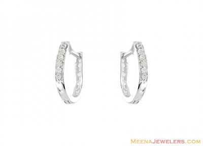 18K Designer ClipOn Earrings ( White Gold Earrings )