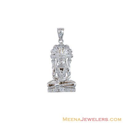 18k White Gold Lord Vishnu Pendant ( Ganesh, Laxmi and other God Pendants )