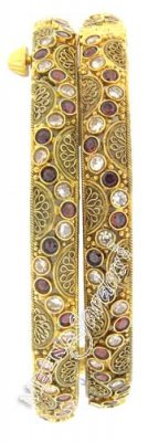 22 Kt Antique Gold Bangles With Garnet And Polki Stones ( Antique Bangles )