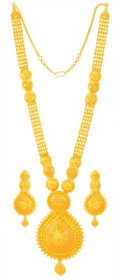 22Karat Gold Long Necklace Set ( 22 Kt Gold Sets )