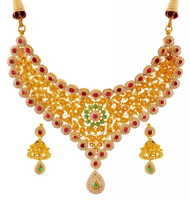 22K Gold Antique Set ( Antique Necklace Sets )