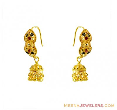 22K Meena Chandelier Earrings ( 22Kt Gold Fancy Earrings )