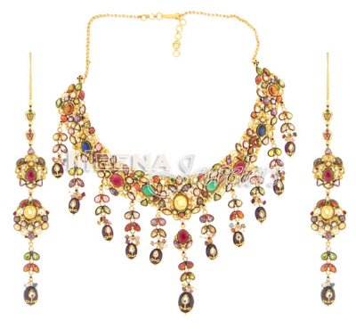 22 Kt Antique Indian Gold Necklace Set ( Antique Necklace Sets )