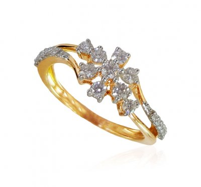 18kt Gold Diamond Ring For Ladies ( Diamond Rings )
