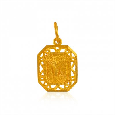 22k Gold Pendant with Intial M ( Initial Pendants )