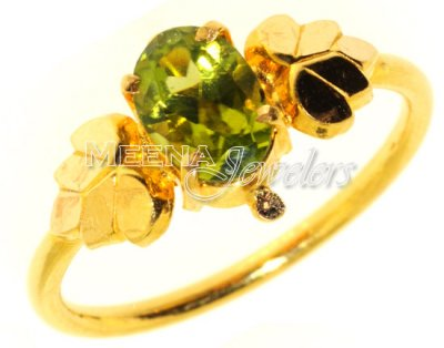 22kt Gold Ring with Colored CZ ( Ladies Rings with Precious Stones )