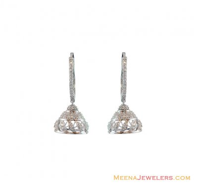 18K Fancy Diamond Earrings ( Diamond Earrings )