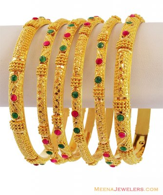 Traditional Indian Bangles Set 22k ( Set of Bangles )