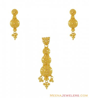 22K Filigree Pendant Set ( Gold Pendant Sets )