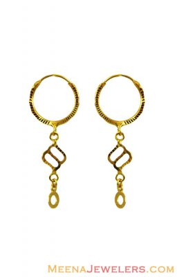 22Kt Small Fancy Hoop Earrings ( Hoop Earrings )