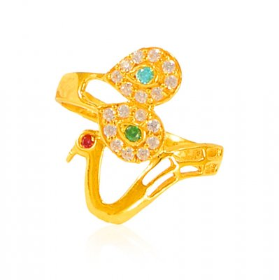 22K Gold Exclusive Peacock Ring  ( Ladies Signity Rings )