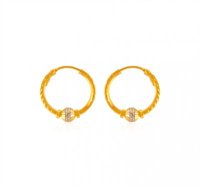 22k Gold Ball Hoop Earrings ( Hoop Earrings )