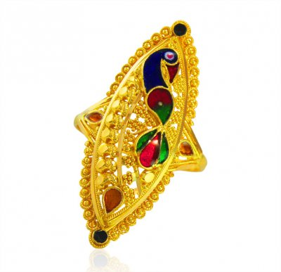 22KT Gold Peacock Ring  ( Ladies Gold Ring )
