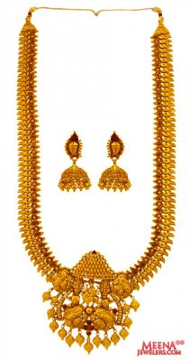 22 Karat Gold Temple Necklace Set ( Antique Necklace Sets )