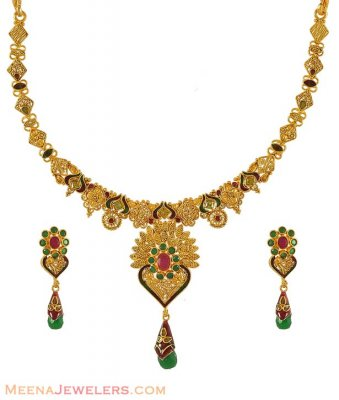 22K Gold Fancy Necklace Set ( Antique Necklace Sets )