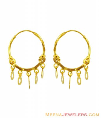 22Kt Fancy Hoop Earrings ( Hoop Earrings )