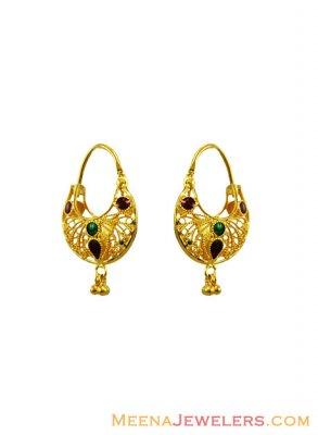 22k Fancy Meenakari Hoop Earrings