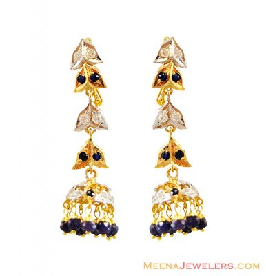 22K Sapphire Long Earrings  ( Precious Stone Earrings )