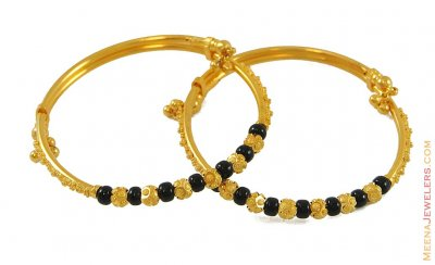 22k Black Beads Kids Bangle ( Baby Bangles )
