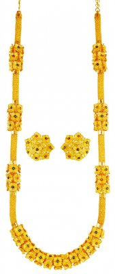 22k Gold Long Necklace Earring Set ( Bridal Necklace Sets )