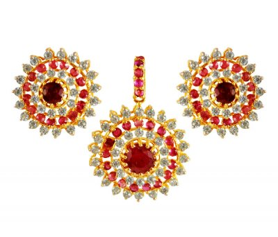 22K Gold Ruby Pendant set ( Precious Stone Pendant Sets )