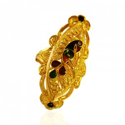 22Kt Gold Meenakari Peacock Ring  ( Ladies Gold Ring )