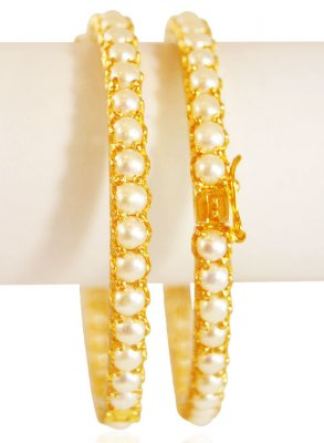 22k Gold  Pearls Kadas (2pcs) ( Antique Bangles )