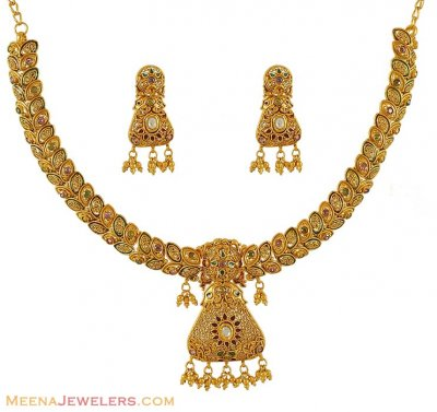 22Kt Antique Necklace Set ( Antique Necklace Sets )