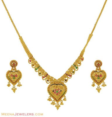 22Kt Necklace Set (Meenakari) ( 22 Kt Gold Sets )