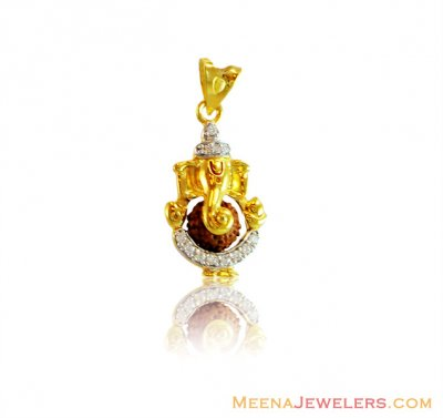 22k Ganesha With Rudraksha Pendant ( Ganesh, Laxmi and other God Pendants )