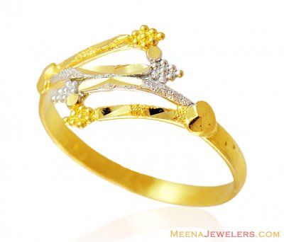 Fancy Two Tone Gold Ladies Ring ( Ladies Gold Ring )