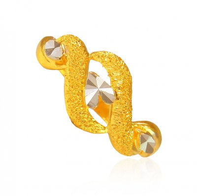22Kt Gold Two Tone Ladies Ring ( Ladies Gold Ring )