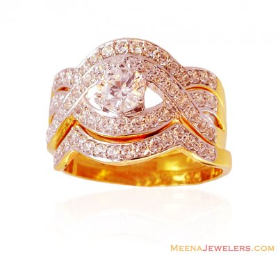 Engagement 22K Ring with Bands ( Ladies Signity Rings )