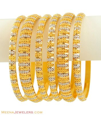 22Kt Two Tone Bangles Set ( Set of Bangles )