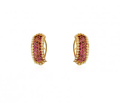 Fancy 22K Ruby Pearls Earrings ( Clip On Earrings )