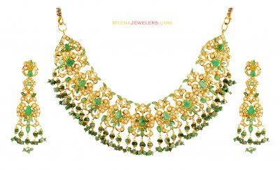 Gold Emerald Necklace Set ( Emerald Necklace Sets )