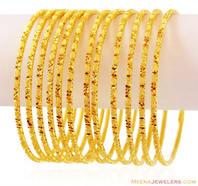 22K Gold Bangles Set (6 Pcs) ( Set of Bangles )
