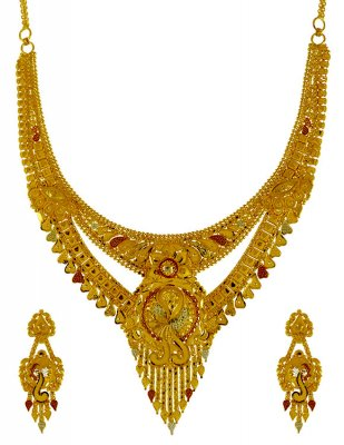 22k Gold Three Tone Necklace Set ( 22 Kt Gold Sets )